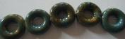 Green Blue Porcelain Donut Beads -20cm Strand