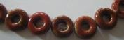 Orange Red Porcelain Donut Beads -20cm Strand