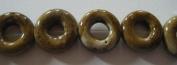 Pink/Beise Porcelain Donut Beads -20cm Strand