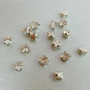 12 pcs Sew on Cut Glass Crystals 5mm in Silver Settings montees 4 holes bead ~ T1-4