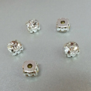 3 pcs Sew on Cut Glass Crystals 8mm in Silver Settings montees 8 holes bead ~ T1-26