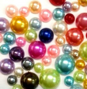 300 pcs 4mm - 8mm DIY Art Faux Pearls Flatback Mix Colours Size ~ M1-10