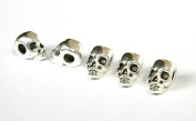 5 Metal Silver Skull Beads For 550 Paracord Bracelets, Lanyards, & Other Projects