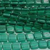 Czechmate 6mm Square Glass Czech Two Hole Tile Bead - Emerald