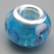 Ceramic European Bead Charm for Bracelet, Blue with Purple Flowers