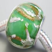 Ceramic European Bead Charm for Bracelet, Green with Metalic