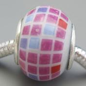 Ceramic European Bead Charm for Bracelet, Pink Squares