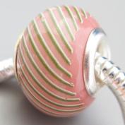 Ceramic European Bead Charm for Bracelet, Pink Striped