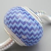 Ceramic European Bead Charm for Bracelet, Purple Design