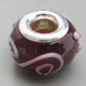 Ceramic European Bead Charm for Bracelet, Purple Swirls