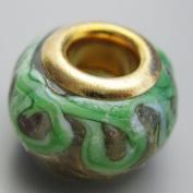 Ceramic European Bead Charm for Bracelet, Vine with Flower