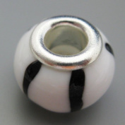 Ceramic European Bead Charm for Bracelet, White with Black Stripes
