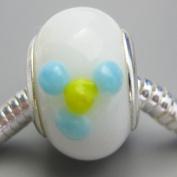 Ceramic European Bead Charm for Bracelet, White with Blue Flower