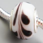 Ceramic European Bead Charm for Bracelet, White with Brown Swirl