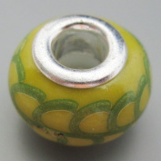 Ceramic European Bead Charm for Bracelet, Yellow and Green