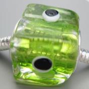 Ceramic European Bead Charm for Bracelet, Green Cube