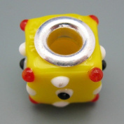 Ceramic European Bead Charm for Bracelet, Yellow Cube