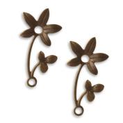 Vintaj Natural Brass Fastenables Violet Sprig Flower Charms 30mm
