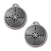 TierraCast Antique Silver 26x23mm Labyrinth Pendant