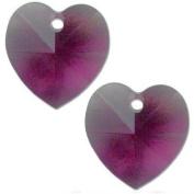 2 Amethyst. Crystal Heart Charm 6202 10mm