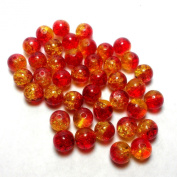 "Moxx 2-tone 8mm Round Crackle Lampwork Glass Beads Red/yellow ""Sunburst"""