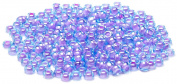 Beaders Paradise LTS62 Czech Glass Aqua Purple Lined 10/0 Seed Beads in a Tube