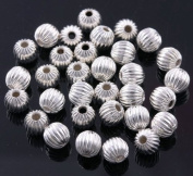 Silver Plated Fluted Corrugated Round Metal Beads 4mm