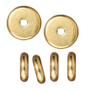 Bright 22K Gold Plated Lead-Free Pewter Disc Heishi Spacer Beads 7mm