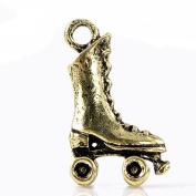 Antique Bronze Roller Skates Charm Pendant for Necklace