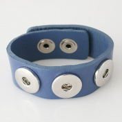 Small Blue Leather Snap Chunk Bracelet - 22cm