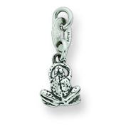 Sterling Silver Antiqued Frog Charm. Metal Weight- 0.75g.