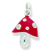 Sterling Silver CZ Red Enamelled Polished Mushroom Charm. Metal Weight- 1.44g.