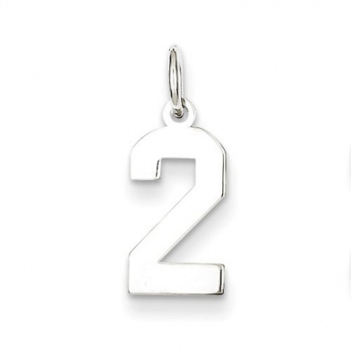 Sterling Silver Small Polished Number 2. Metal Wt- 0.33g