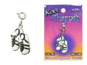 Koolcharmz White/ Black Track Shoes Dangling Charm