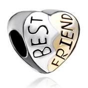 Silver Plated Pugster Heart Best Friend Bead Fits Pandora Charm Bracelet