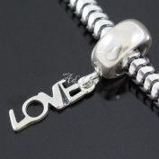 I Love You Dangle .925 Sterling Silver charm Fits Pandora, Biagi, Troll, Chamilla and Many Other European Charm #EC511