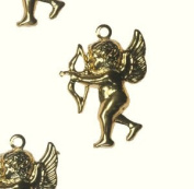 Gold Cupid Pendant Victorian Charm Jewellery Stamping Finding 21mm