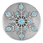 Ginger Snaps GLITZY SNOWFLAKE SNAP SN19-01 Interchangeable Jewellery Snap Accessory