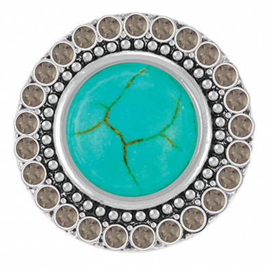 Ginger Snaps TURQUOISE WITH BLACK DIAMOND CRYSTALS SN29-19 Interchangeable Jewellery Snap Accessory