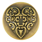 Ginger Snaps BRASS BAROQUE HEART SN01-08 Interchangeable Jewellery Snap Accessory