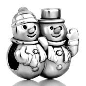 """Silver Plated Pugster """" Snowman"""" Bead Fit Pandora Charms"""