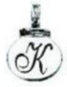 Ganz Initial Keyrings/Necklace - K