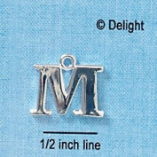 C2277 tlf - Large Silver Initial - M - Silver Plated Charm