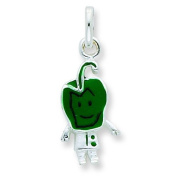Silver Enamelled Green Pepper Person Charm. Metal Weight- 1.33g.