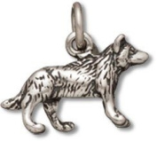 Sterling Silver North American Wolf Charm with Split Ring - Item #5031