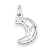 Sterling Silver 3-d Half Moon Charm - JewelryWeb