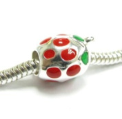 Sterling Silver Enamel Red Strawberry Bead Charm compatible with Pandora European Charm Bracelets