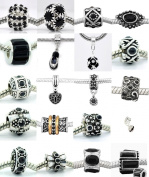 Ten (10) of Assorted Shades of Black Crystal Rhinestone Charm Beads. Compatible With Most Major Charm Bracelets.
