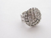 Volleyball Clear Crystals Silver Plated Fashion Stretch Ring