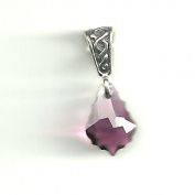 Gift Boxed Baroque Amethyst Celtic Pendant Sterling Silver. Crystal Jewellery
